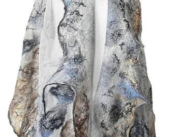 nuno felted silk scarf shawl wrap ESKIMO handmade art to wear, silk wool scarf, eco fashion by Kantorysinska