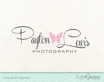 Premade Butterfly Photography Logo - Custom Logo - Payton Lewis Photography - Name Photography - Logo for Photographer