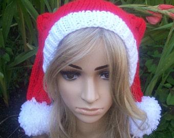 Penny's Style Christmas Hat, The Big Bang Theory Penny's Style Christmas Pom Pom Hat, Cabled Knit Hat, Women's Men's Hat, ClickClackKnits