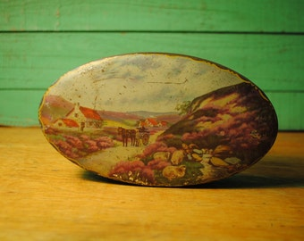 Antique In the Fields Of Lavender antique Made in England OVAL tin candy toffee tin 1920 1930 blue rimmed HOME decorLOVED Home Decor storage