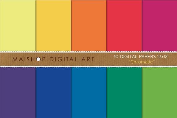 Solid Color Digital Paper Chromatic Rainbow Plain Scrapbook