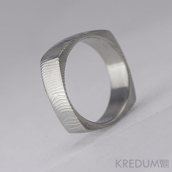 Square Wedding Ring, Mens Ring, Womens ring - Hand forged stainless Damascus steel Wedding ring - Round Square