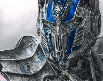 Drawing Print of Optimus Prime from Transformers: Age of Extinction