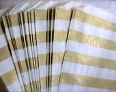 Metallic Gold Bold Stripes Paper Favor Bags, Treat Bags, Candy Bags