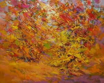 Oil painting fall, landscape painting, autumn canvas art, orange wall art canvas original oil art
