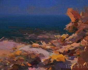 Modern painting, Seascape oil painting original, Pastel beach painting, Seascape art painting, Abstract sea artwork