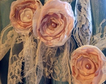wedding chair tie aisle decor blush pink wedding decoration chair sash event shabby chic vintage lace chair cover pew tie church decoration