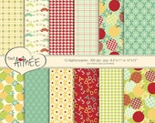 Back To School Printable Digital Scrapbook Paper, Boys & Girls, Apples, Houndstooth, Alphabet, Flowers, Dots, Plaid - Group 106