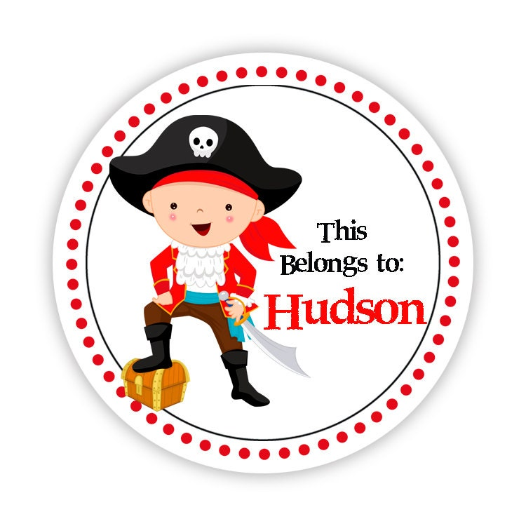 Boys Premium Name Labels: Label Name Stickers Black And Red Polka Dots Little Pirate