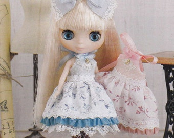 Petite Blythe Mini Pullip Dal 11cm doll Kawaii Cute Lolita Dress and Petticoat pdf Scaled E PATTERN in Japanese and Titles in English