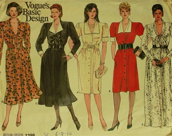 Dress, Collar Variations - 1980's - Vogue Pattern 1396 Uncut  Sizes  6-8-10  Bust 30.5-31.5-32.5""