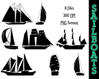 Sailboats Silhouettes // Sailboat Silhouette // Boat Clipart // Wind Boats