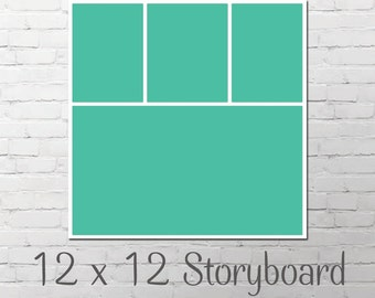 Storyboard Photo Templates // One 12x12 Storyboards // Instant Download // Blog Board // Photographers Template