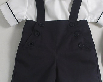 Navy Sailor Shorts with straps and Piped Shirt for Little Boys.