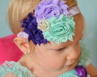 Purple and Aqua Baby headband, Shabby Chic headband, Baby girl headband, toddler Hair bow Lavender