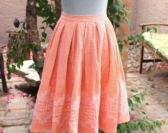 Gingham Orange and White Cross stitch pleated full skirt