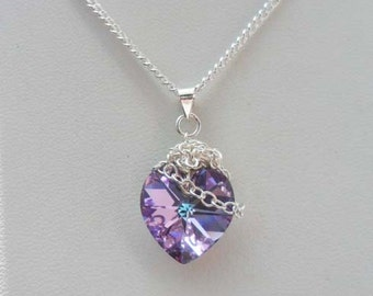 Chained Heart Necklace, Swarovski Virtual Light Heart, Sterling Silver, Heart Necklace, Donna J Jewelry