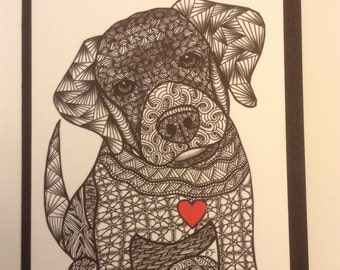 Zentangle Inspired Labrador Retriever dog  Note Card, Labrador Retriever dog Print,  Love Card, Valentines day card