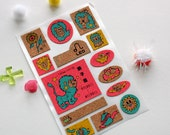 sticker sheet - cork stickers ~ very colourful