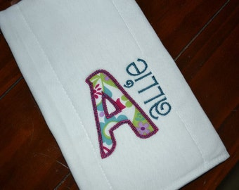 Personalized Initial and Name Baby Burp Cloth