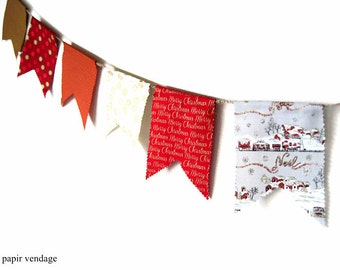 Noel Christmas Bunting Banner, Christmas Decorations, Christmas 9ft. Fabric Banner, Christmas Red, & Gold White Bunting, OOAK Handmade