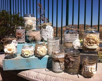 BURLAP LACE MASON Jars. Set of 24 Bulk Mason Jar Centerpieces. Head Table Decor, Rustic Wedding Decor. Centerpieces Wholesale