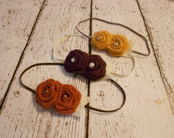 Fall Chiffon Rose Headband Set- Mustard, Pumpkin, Mulberry-Newborn to Adult- Photo Prop