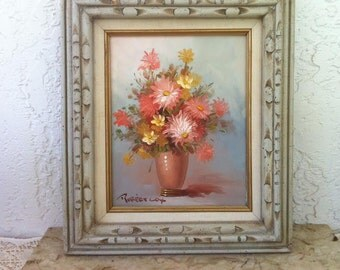 Gorgeous Flowers in a Vase, by Famous Painter, Robert Cox, Listed Artist, Beautifully Framed, Vintage Oil Painting, Shipping Included!