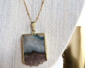 Layered  Raw Amethyst Slice Necklace