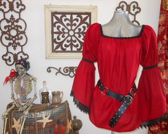 Red Pirate Renaisssance Chemise Shirt With Lace Trim Other Colors Available. Wear It Over A Pair Of Leggings Or Under A Bodice.