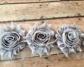 Gray ** Shabby Flowers Chiffon Rosettes Shabby Flower trim- *Your choice of 1/2 yard or 1 Yard