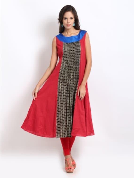 Items similar to Women Black & Red Cambric Anarkali Kurta ...