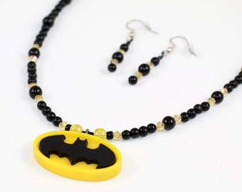 I am BATMAN!!!  Necklace set (SET-Batmanbeaded-001)