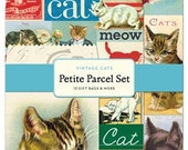 """SALE Cavallini & Co. Petite Parcel Paper Bag set  """"Vintage Cats"""" with Tags and Stickers"""
