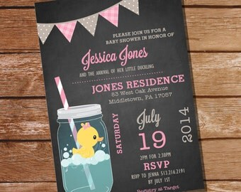 Mason Jar Rubber Duck Baby Girl Shower Invitation - Instant Download + Editable File - Personalize and Print at Home with Adobe Reader