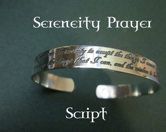 Serenity Prayer bracelet SCRIPT Solid sterling silver  not plated Jewelry