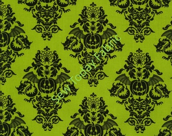 Pumpkin Fleur on Green - Black Magic Collection by Dana Brooks - Henry Glass 9681-66 (sold by the 1/2 yard)