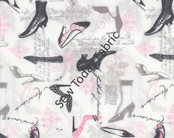Vintage Shoes - April in Paris Collection - Timeless Treasures ERA-C2330-PINK (sold by the 1/2 yard)