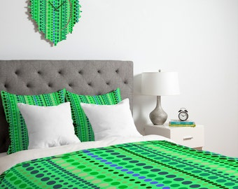 Green Dots Pattern Duvet Cover / Green Blanket / Bright Green Comforter / Kids Bedding / Green Pattern Duvet / Green Duvet / Green Bedding