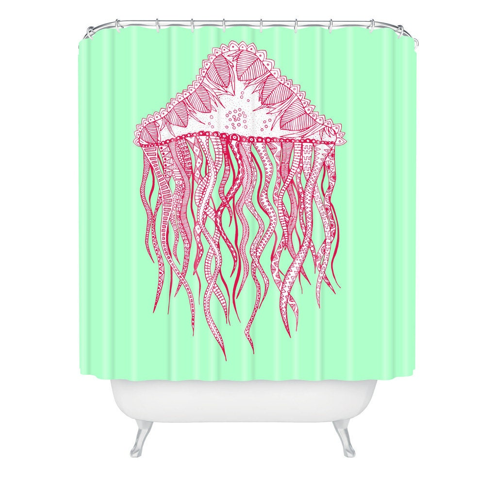 jellyfish shower curtain mint green shower curtain modern