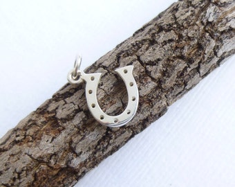 Small Sterling Silver Horseshoe Charm -- 1 Piece...  Good Luck Pendant