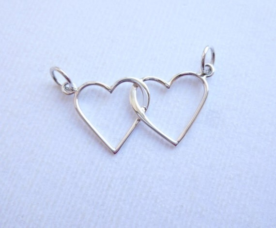Sterling Silver Linked Hearts Connector One Piece 925
