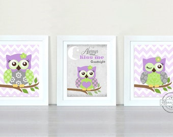 Owl Nursery Decor Owl Print wall art ,Set of three Girls Room Decor Woodland Owl Nursery Art , Owl will Always Love you