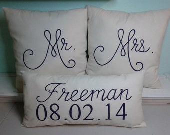 Mr. & Mrs. Pillows with Last Name and Date (Stuffed)