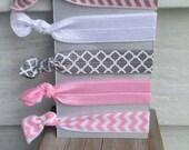 No snag hair ties - Light pink chevron