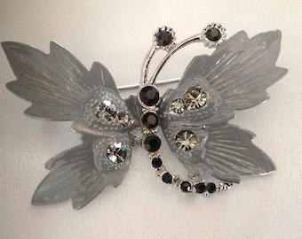 Vintage Silver Rhinestone Butterfly