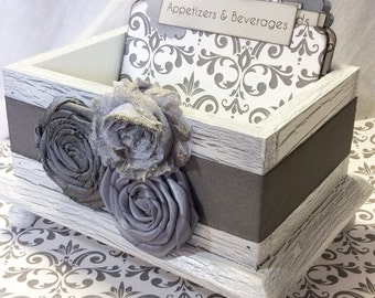 RECIPE BOX, Dividers, Recipe Cards, Grey and White Damask and Dots, White Shabby Chic Box, Custom Colors