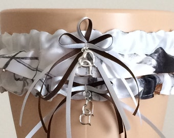 True Timber Snowfall White Camouflage Wedding Garter Set, Bridal Garter Set, Camo Garter, Keepsake Garter