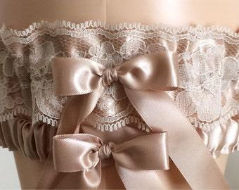 Tan Satin and Lace Wedding Garter Set, Bridal Garter, Prom Garter, Neutral Lace Garter, Keepsake Garter, Weddings, Bridal Accessories