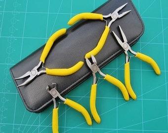 Mini Pliers 5pc Set Leather Look Case